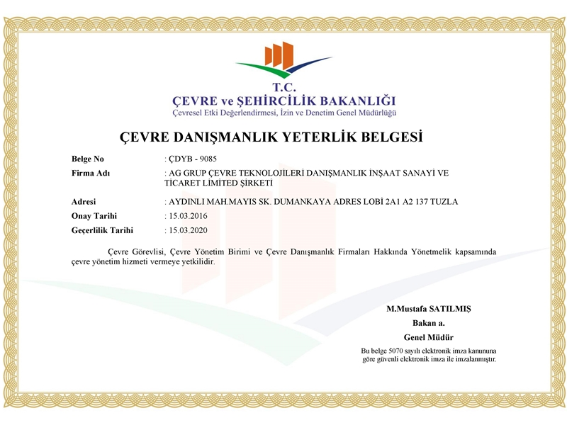 Our Environmental Consulting Qualification Certificate is Renewed